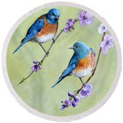 Bluebirds And Blossoms Round Beach Towel