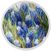 Bluebonnet Barrage  Round Beach Towel