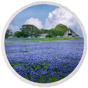 Bluebonnet Farm Round Beach Towel
