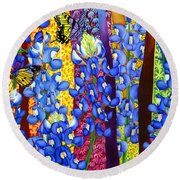 Bluebonnet Garden Round Beach Towel