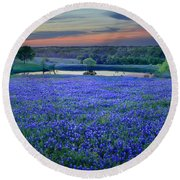 Round Beach Towel featuring the photograph Bluebonnet Lake Vista Texas Sunset - Wildflowers Landscape Flowers Pond by Jon Holiday