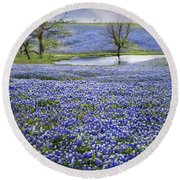 Bluebonnet Pond Round Beach Towel
