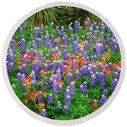 Bluebonnets And Paintbrush Round Beach Towel