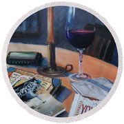 Blues And Wine Round Beach Towel by Donna Tuten
