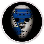 Blues Goalie Mask Round Beach Towel