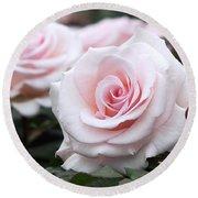 Blush Pink Roses Round Beach Towel