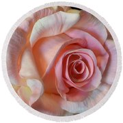Round Beach Towel featuring the photograph Blushing Pink Rose by Jeannie Rhode