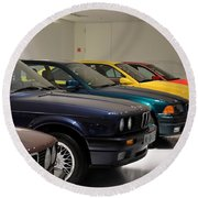 Bmw Cars Through The Years Munich Germany Round Beach Towel