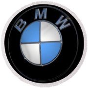 Bmw Emblem Round Beach Towel by DigiArt Diaries by Vicky B Fuller