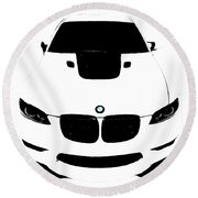 Round Beach Towel featuring the digital art Bmw White by J Anthony