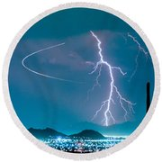 Bo Trek The Lightning Man Round Beach Towel