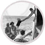 Boarding A Fishing Cruiser Round Beach Towel