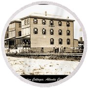Boardinghouses And Cottages Atlantic City New Jersey C 1900 Round Beach Towel