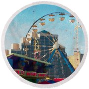 Boardwalk Ferris  Round Beach Towel
