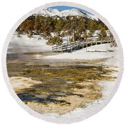 Boardwalk In The Park Round Beach Towel by Sue Smith