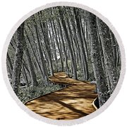 Boardwalk In The Woods Round Beach Towel