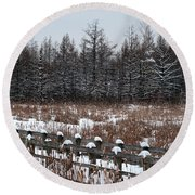 Round Beach Towel featuring the photograph Boardwalk Series No1 by Bianca Nadeau
