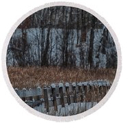 Round Beach Towel featuring the photograph Boardwalk Series No2 by Bianca Nadeau