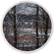 Round Beach Towel featuring the photograph Boardwalk Series No3 by Bianca Nadeau