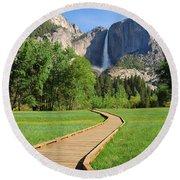 Boardwalk To Yosemite Falls  Round Beach Towel