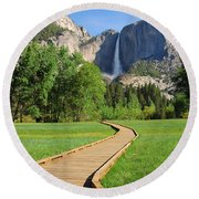 Boardwalk To Yosemite Falls  Round Beach Towel