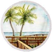 Boardwalk With Two Palms Round Beach Towel