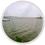 Boat And Catcus Round Beach Towel