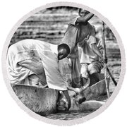 Boat And Cow  Round Beach Towel