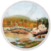 Boat At Bic Quebec Round Beach Towel