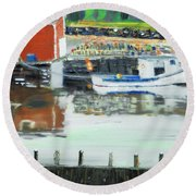 Boat At Louisburg Ns Round Beach Towel