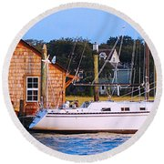 Boat At Shem Creek By Jan Marvin Round Beach Towel