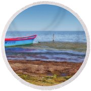 Boat At The Pond Round Beach Towel