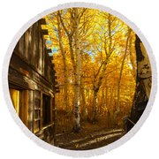 Boat House Among The Autumn Leaves  Round Beach Towel