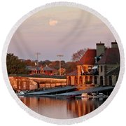Boat Houses At Dawn Round Beach Towel by Kenny Glotfelty