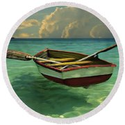 Round Beach Towel featuring the painting Boat In Clear Water by David  Van Hulst