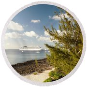 Boat In Port Round Beach Towel by Amar Sheow