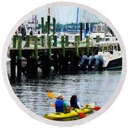 Boat - Kayaking In Newport Ri Round Beach Towel