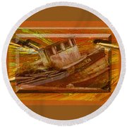 Boat On Board Round Beach Towel