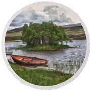 Boat On Lake Bank 1929 Round Beach Towel