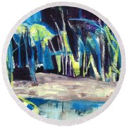 Boat On Shore Line With Trees On Land Round Beach Towel