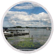 Boat Pier On Lake Ontario Round Beach Towel