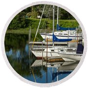 Round Beach Towel featuring the photograph Boat Reflections In Cape Cod Hen Cove by Eleanor Abramson