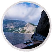 Round Beach Towel featuring the photograph Boat Ride To Capri by Mike Ste Marie