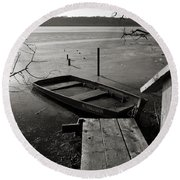 Boat In Ice - Lake Wingra - Madison - Wi Round Beach Towel