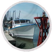 Boat With Light Buoy By Jan Marvin Round Beach Towel