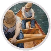 Boaters Rowing On The Yerres Round Beach Towel