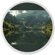 Round Beach Towel featuring the photograph Boathouse by Katie Wing Vigil