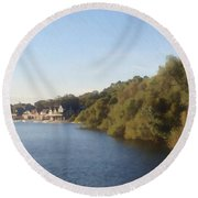 Boathouse Round Beach Towel by Photographic Arts And Design Studio