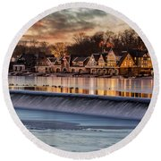 Boathouse Row Philadelphia Pa Round Beach Towel