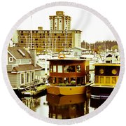 Round Beach Towel featuring the photograph Boathouses by Eti Reid